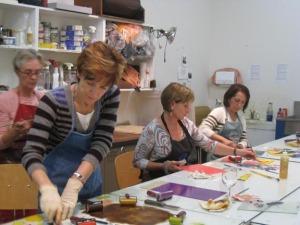 Los Gatos Arts Docents in the Print Center: Carol Webb, Elaine Cardinale and Gina Bommarito with visiting instructor Sandra Starkey Simon.