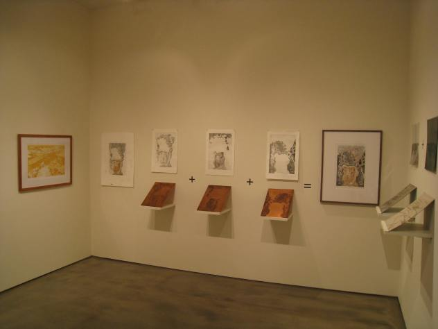 demonstration gallery view of Ema Harris-Sintamarian's etching proofs and final framed print